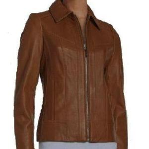 NWT Women's Liz Claiborne Brown Leather Jacket